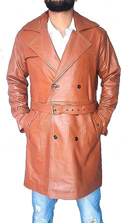 254ea18495c Leather Hubb Men s New Zealand Lambskin Brown Long Jacket Trench Coat  Galaxy Star (Medium