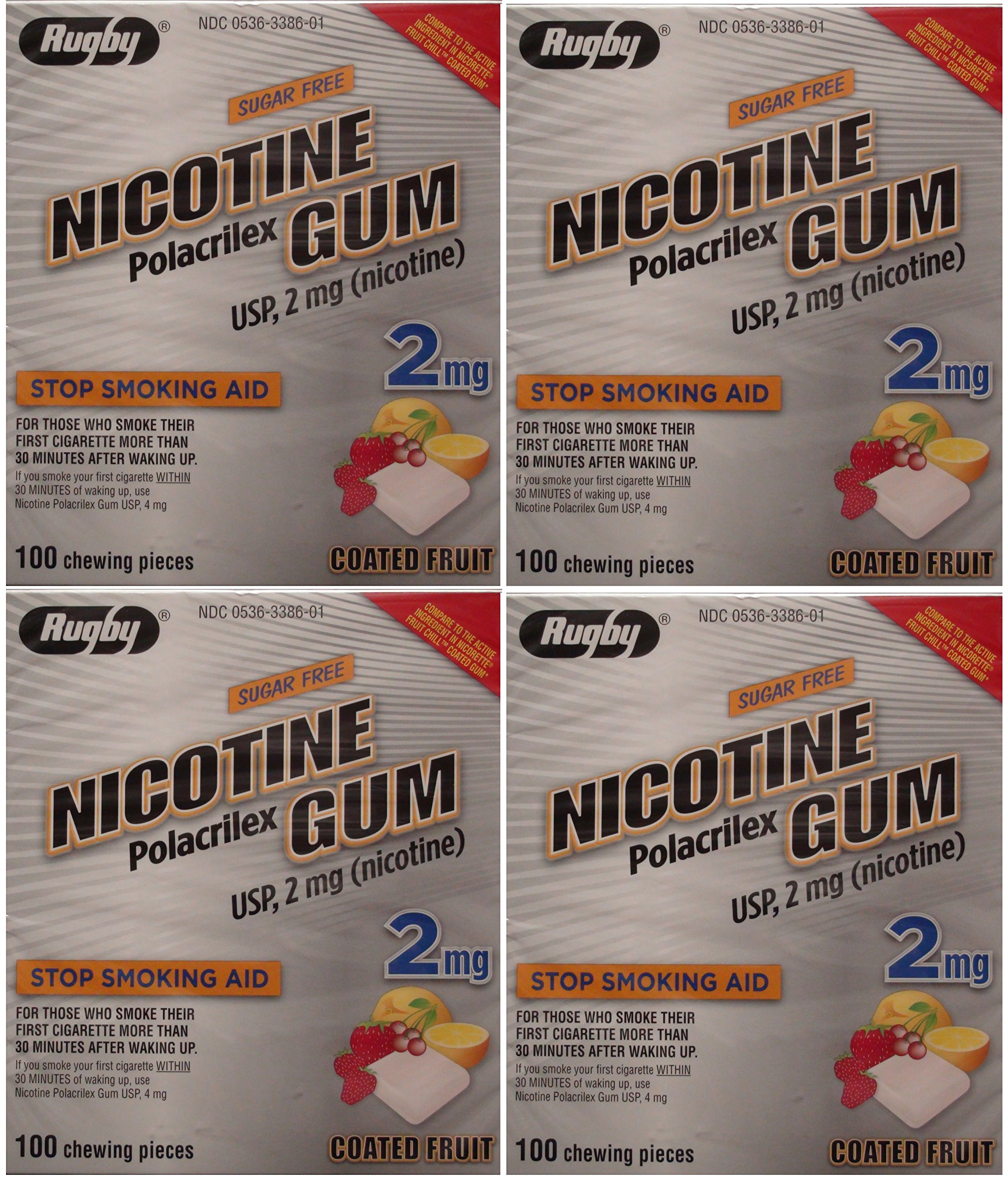 Nicotine Gum 2mg Sugar Free Coated Fruit Generic for Nicorette 100 Pieces per Box Pack of 4 Total 400 Pieces