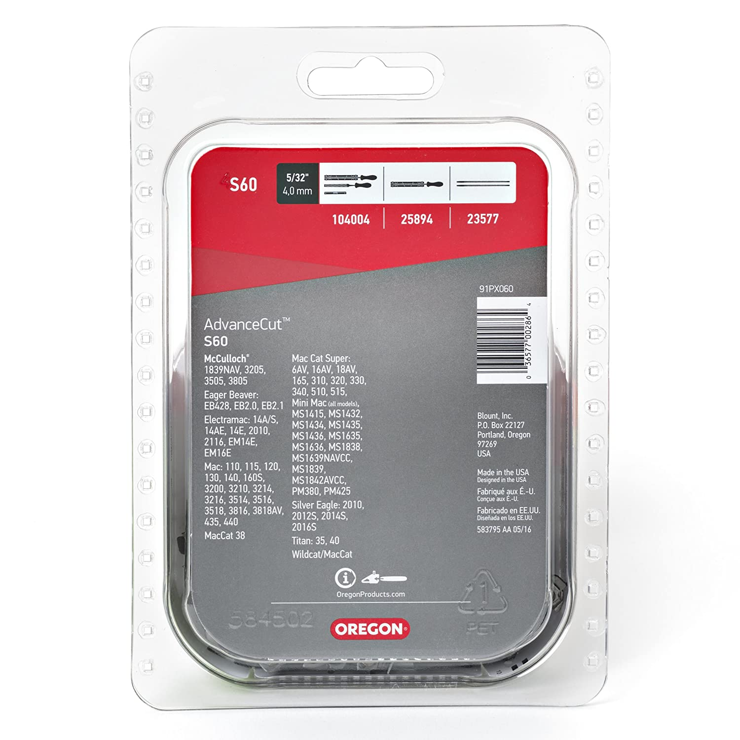 Amazon.com: Oregon S60 AdvanceCut 18-Inch Semi Chisel Chainsaw Chain Fits  McCulloch, Troy-Bilt: OREGON CUTTING SYSTEMS: Garden & Outdoor