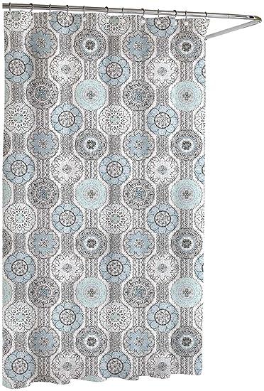 Amazon.com: Kassatex Urban Tiles Shower Curtain, Blue/Grey, 72 by ...