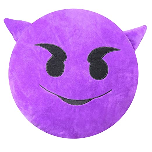 Emoji-Kissen-1 - con Smiley de cojín (Cojín redondo (Diablo ...
