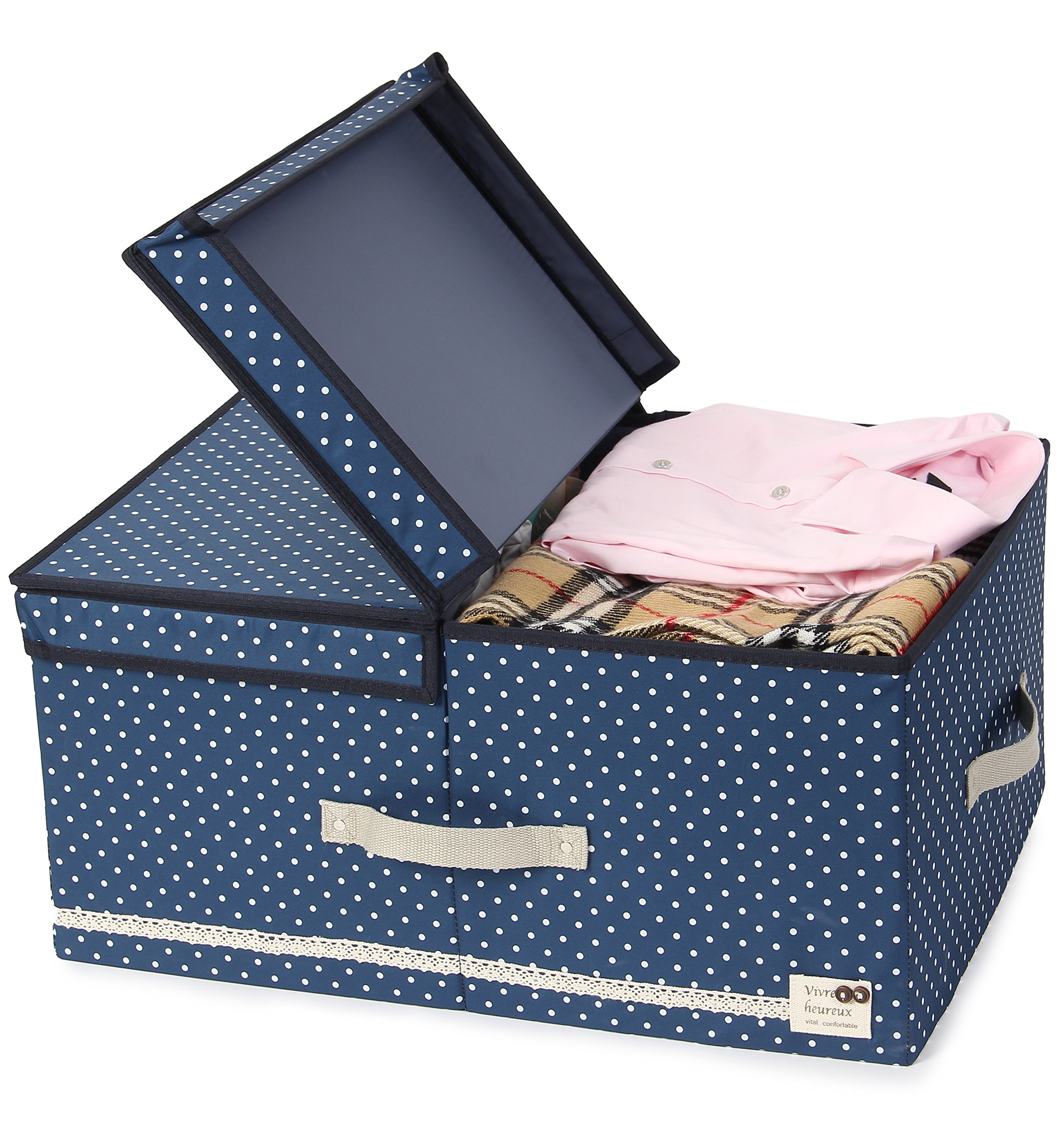 JJ POWER Collapsible Clothes Storage Box, Under Bed Organizer Drawer (Navy Dot)
