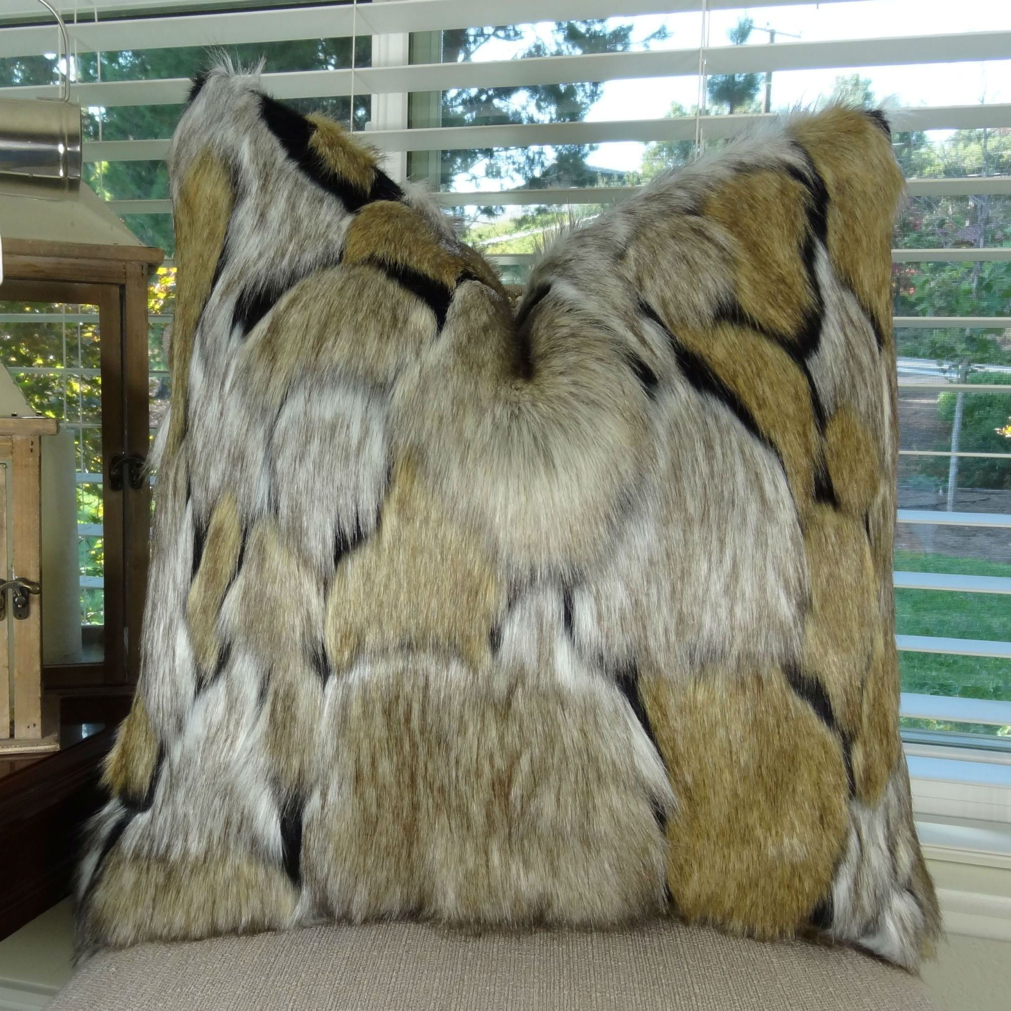 Thomas Collection Taupe Wolf Faux Fur Pillow, Luxury Taupe Black Faux Fur Accent Pillow, Super Soft Taupe Black Fur Pillow, COVER ONLY, NO INSERT, Made in America, 17484
