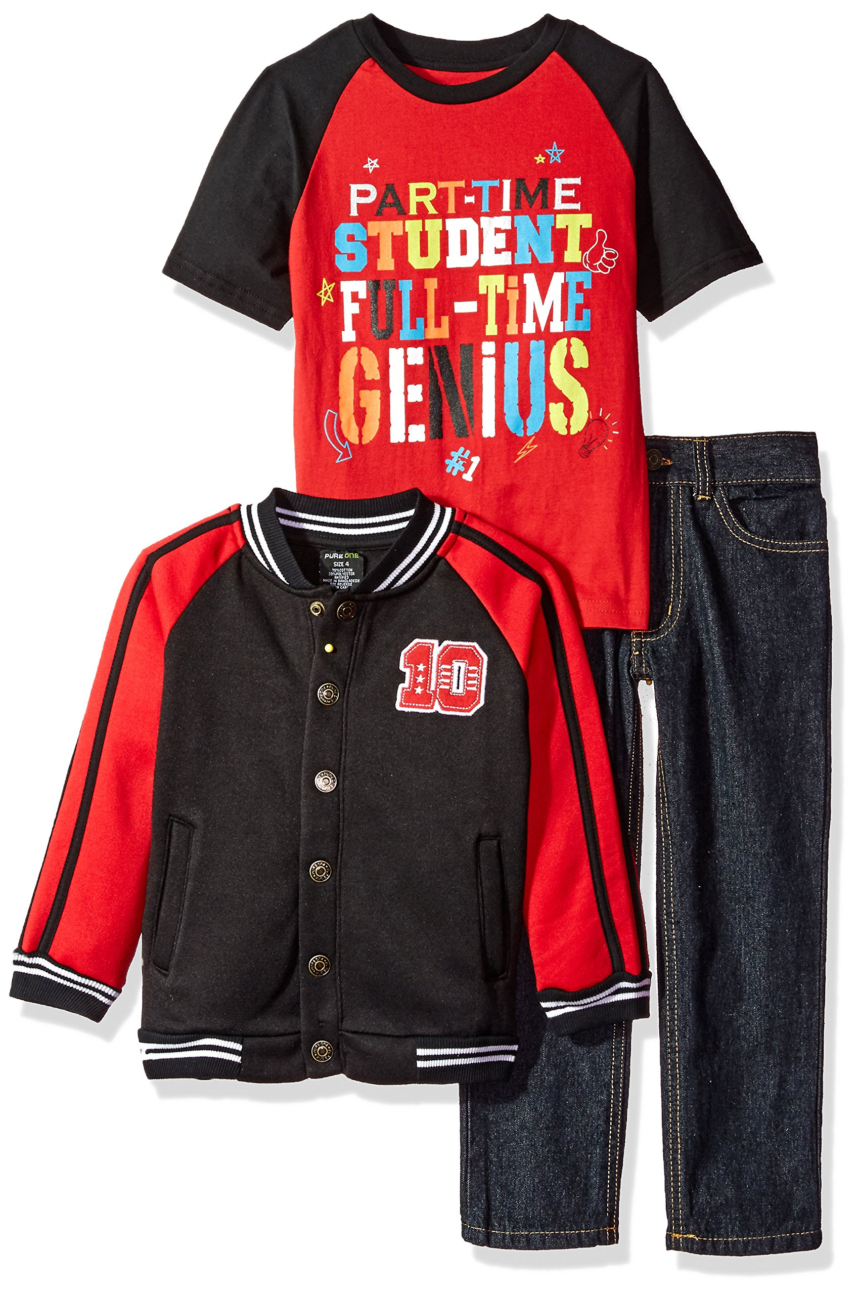 American Hawk Little Boys' Jacket, T-Shirt and Pant Set (More Styles Available), Black-SL83, 5/6 by American Hawk