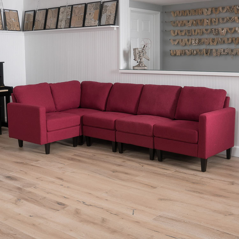 GDF Studio 300800 Bridger Sectional Sofa Set, 5-Piece Living Room  Furniture, Deep Red,