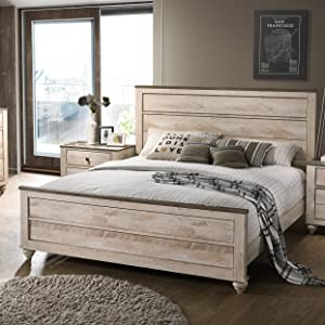 Roundhill Furniture Amerland Contemporary White Wash Finish Panel Bed, Queen,