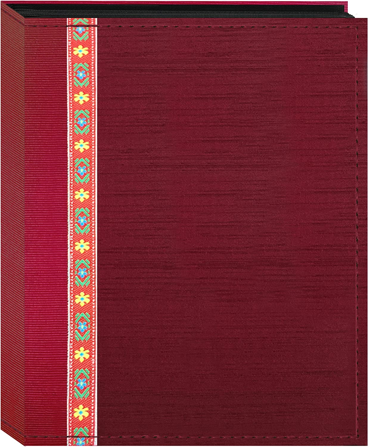 Fabric Ribbon Cover Photo Album 100 Pockets Hold 4x6 Photos, Red