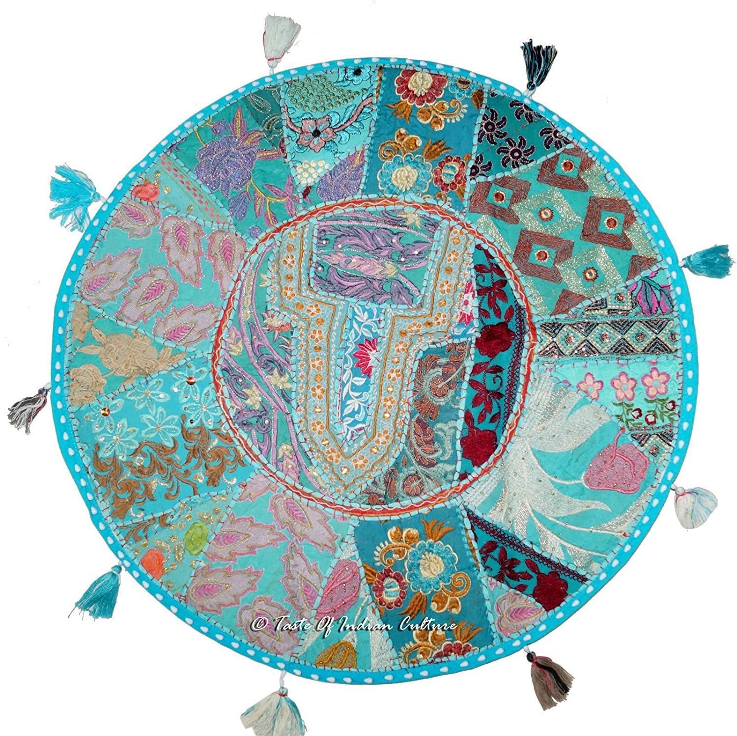 "Amazon Indian 28"" Turquoise Floor Round Cushion Pillow Cover"
