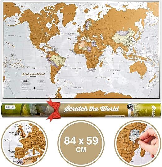 Póster del mapa mundi de rascar con tubo de regalo - extragrande ...