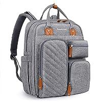 Pomelo Best Skötryggsäck skötväska ryggsäck med avtagbar skötdyna och barnvagnsfastsättning, stor babyväska för resor
