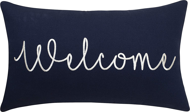 "EURASIA DECOR Welcome Embroidered Lumbar Accent Throw Pillow Cover - 12""x20"", Navy"