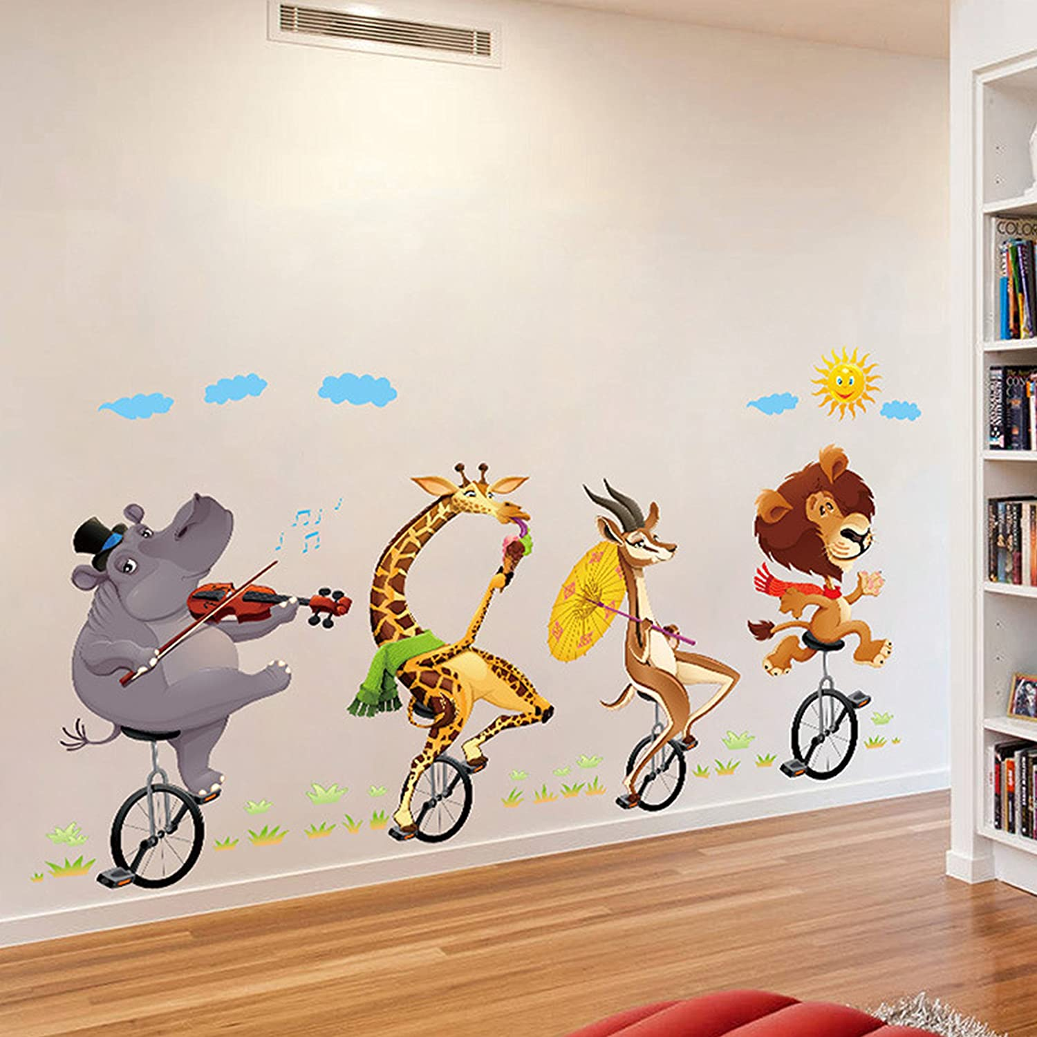 GoldenCart 3D Baby Cartoon Animal Wall Sticker for Kids, Children, Boys, Girls to decorate Bedroom, Nursery, Living Room, Hall, Family lounge, Play School, Home, Office, Cafe or Restaurant (PVC Vinyl, 86cm x 76cm Finished Size on Wall, Self-adhesive &