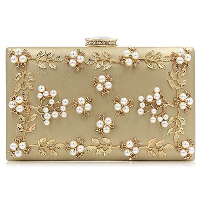 5f78d110d495 Milisente Women Clutches Pearls Evening Bag Clutch Purse Bags (Gold ...