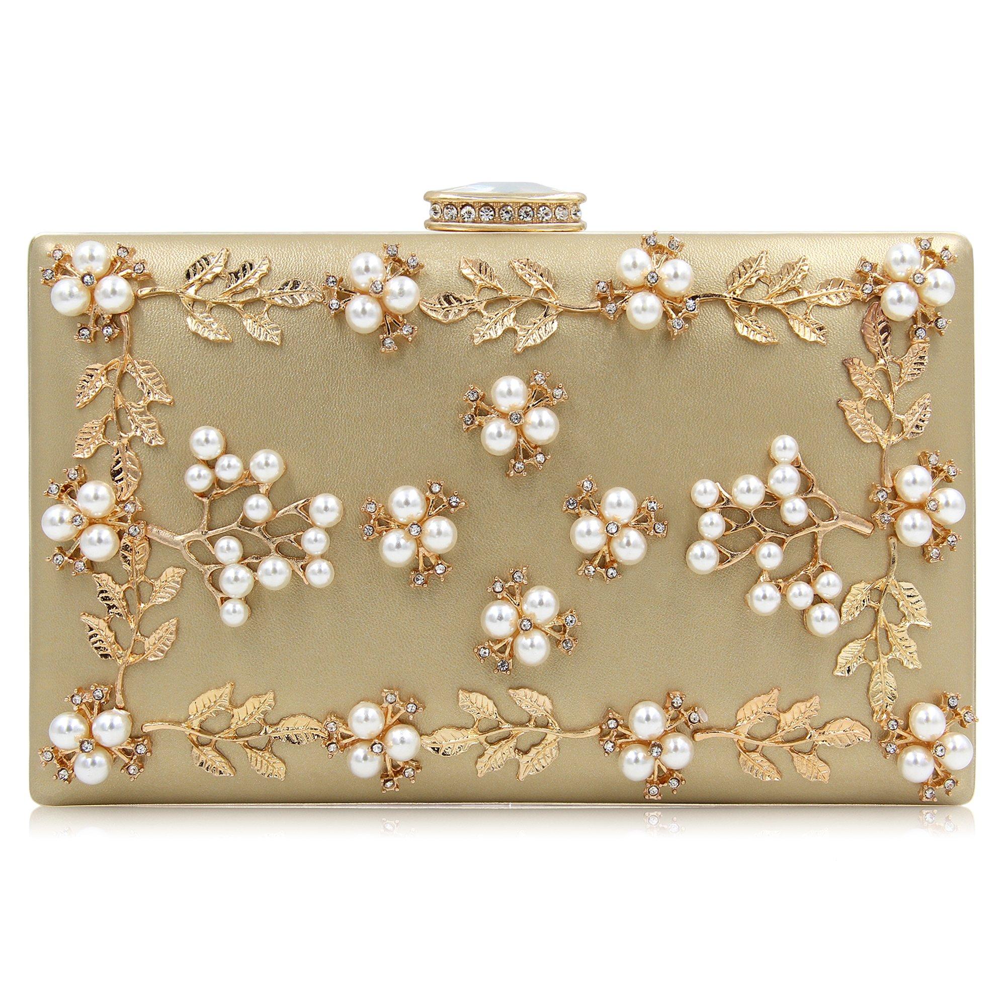 Milisente Women Clutches Pearls Evening Bag Clutch Purse Bags (Gold)