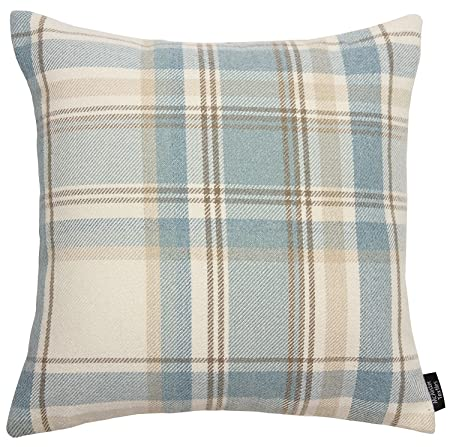 McAlister Textiles Heritage Square Scatter Cushion Cover Duck Egg Inspiration Tartan Pillow Covers