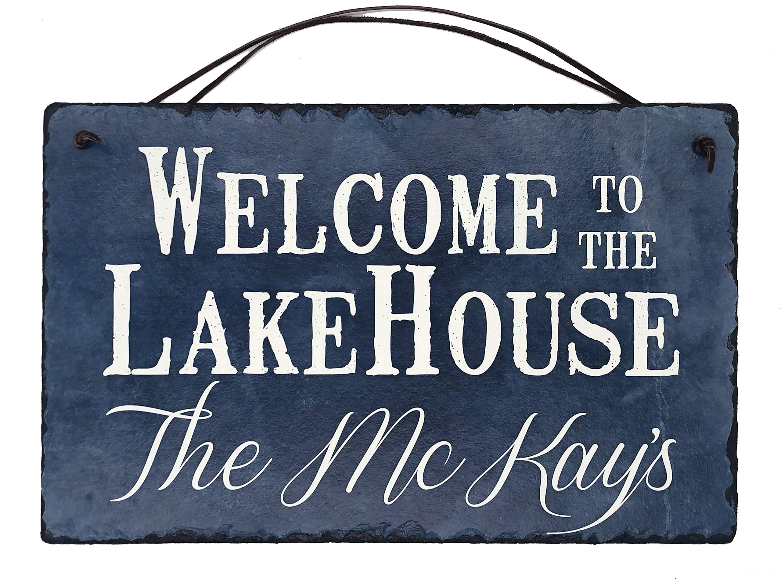Sassy Squirrel Beautifully Handcrafted and Customizable Slate Home Address Plaque Sign Welcome to The Lake House (16''x10'' or 12''x8'') Improve The Curb Appeal of Your Lake House!