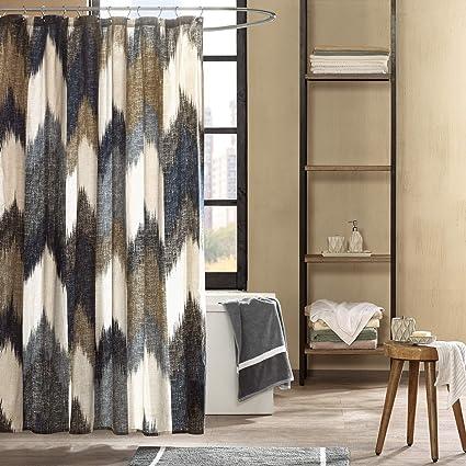 Amazon Ink Ivy Alpine Cotton Printed Shower Curtain Navy 72x72