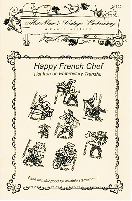 554f758f489934 Amazon.com: Happy French Chef Days-of-the-week Tea Towels Hot Iron  Embroidery Transfers
