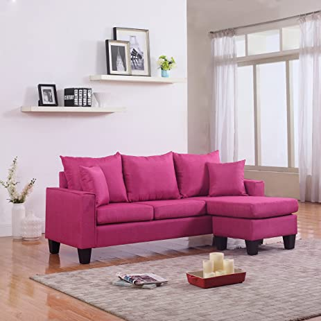 Modern Linen Fabric Small Space Sectional Sofa With Reversible Chaise (Rose  Red)