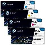 HP 124A Lot de 4 Toners laser d'origine Couleurs Assorties