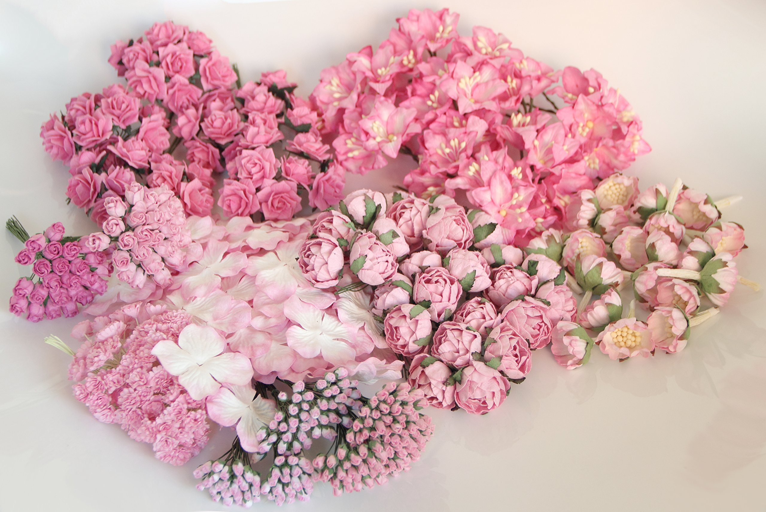 ScrapFlowers Big Value set of Pink Flowers for Scrapbooking, Wedding and Baby Shower Decorations, favours DIY. Hydrangeas, wild roses, gypsophilas, ranunkulus, abble blossoms, lilies. jasmin