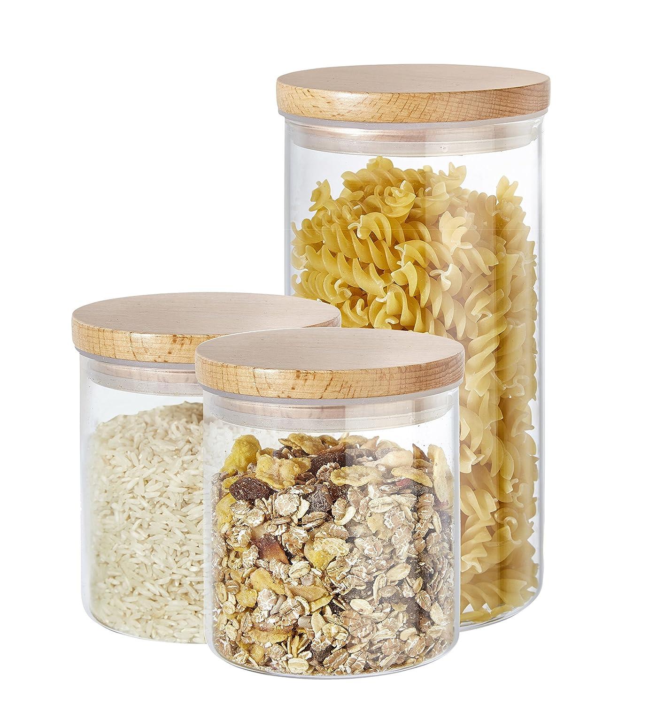 Cajas de almacenamiento Buonostar de 3 piezas de vidrio/madera natural. Un tarro de vidrio de borosilicato con tapa de madera y junta de silicona. ST-AR GmbH & Co. KG G59014