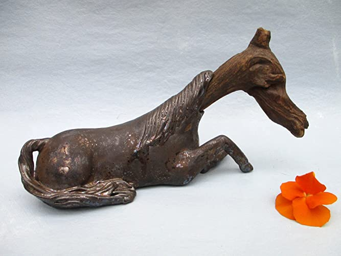 Treibholz Skulptur Pferd Mit Keramik Keramik Figur Holzfigur Mit