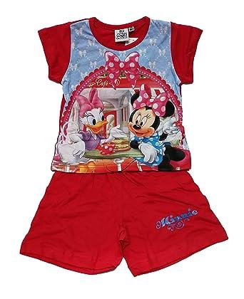 Pijama Infantil para niñas dos piezas verano Minnie Disney (3 años, Rojo)