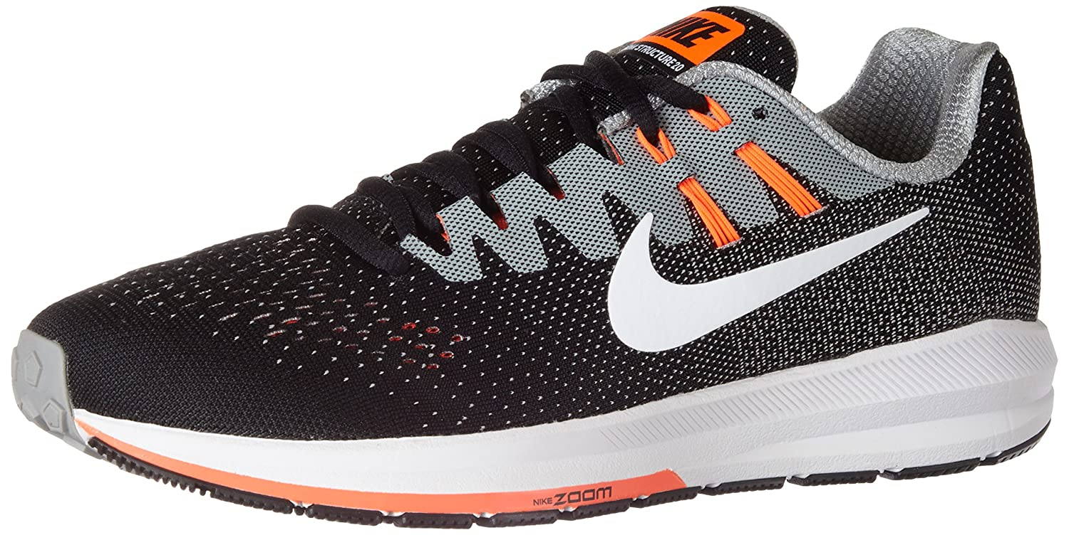 Nike Air Zoom Structure 20, Sneakers para Hombre 46 EU|Negro (Black/White/Matte Silver/Hyper Orange/Cool Grey)
