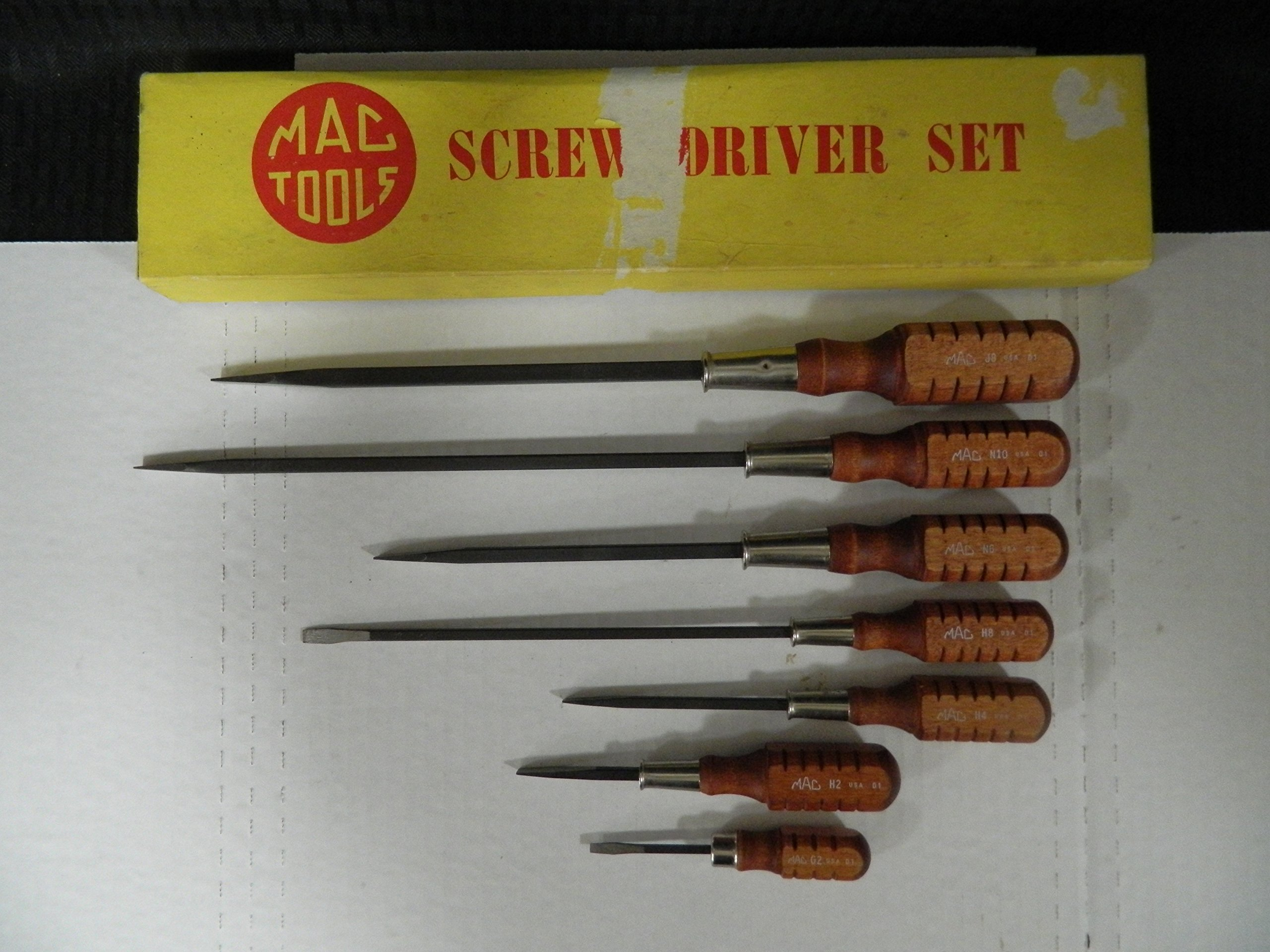 Mac Tools 7 Piece Vintage/Rare Wooden Flat Head Screwdriver Set, Made in USA in the 80's, Part #N10 by Mac Tools