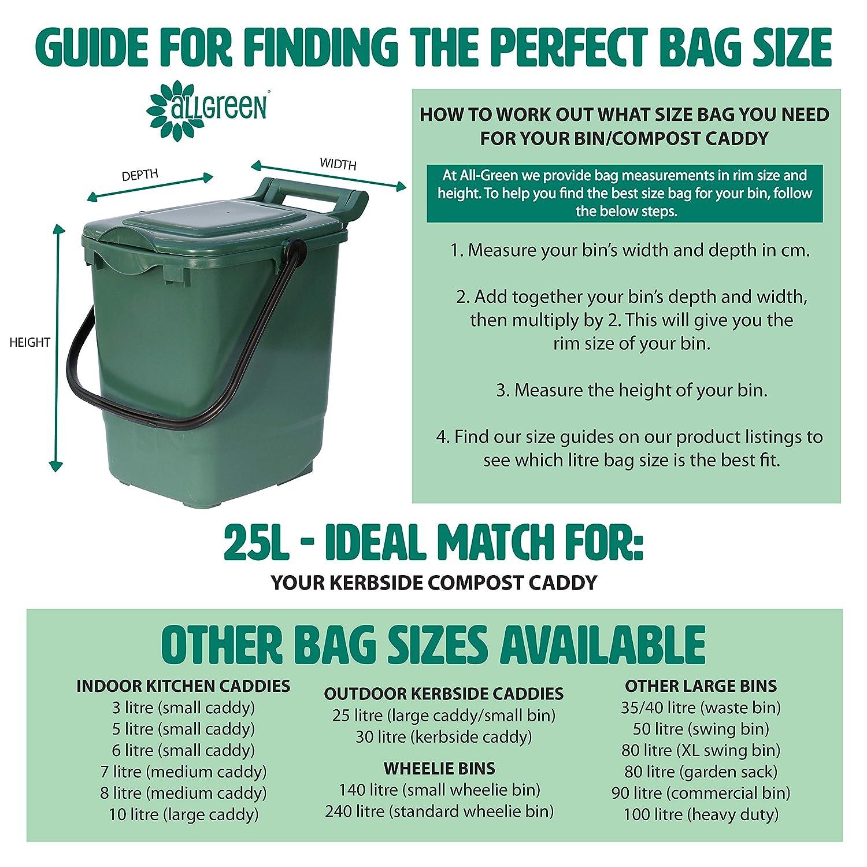 25 x L 75 Sacchetti compostabili con guida al compostaggio con posacenere EN 13432 Biobags-Sacchi per la spazzatura a pedale Caddy per cucina per Compost Biobag-Sacchetti per rifiuti