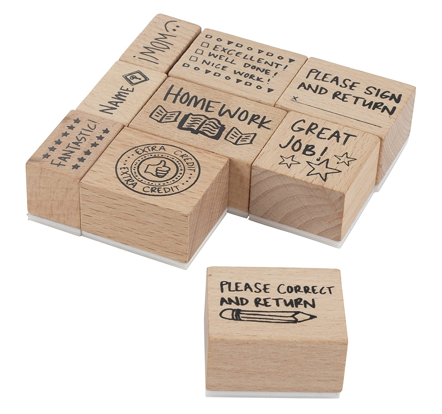 Paper Grading Stamps for Teachers Notes 9-Piece Wood Mounted Rubber Stamps Stamp Set for Teachers Classroom Supply Encouragement School Supply