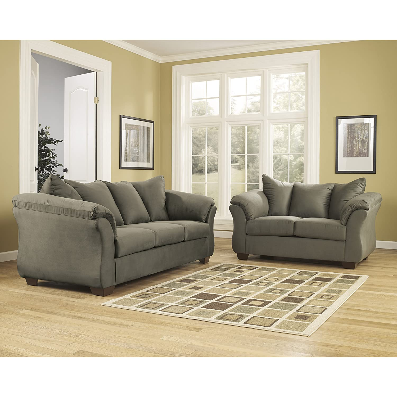 Amazon com flash furniture signature design by ashley darcy living room set in sage microfiber kitchen dining