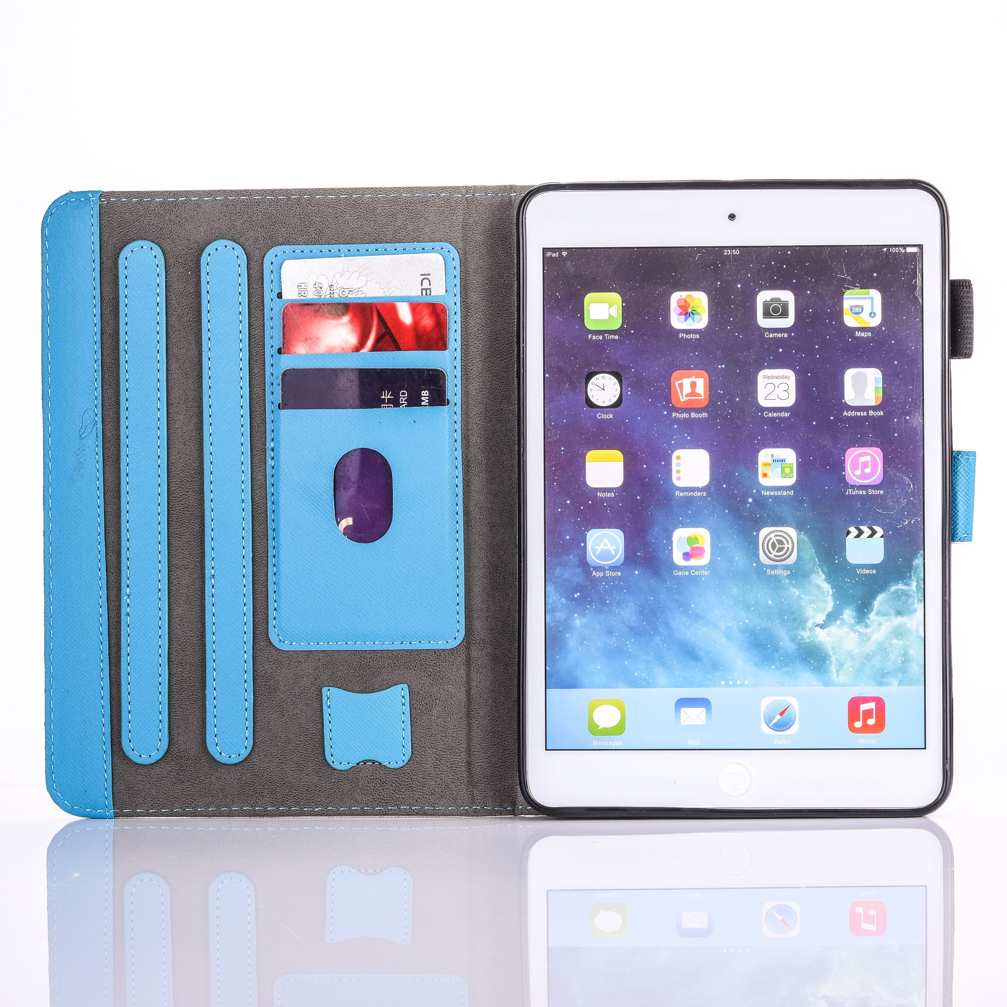 iPad Air 2/iPad Air/iPad 9.7 inch 2017 Case, PU Leather Folio [Anti-Slip] Cover with [Magnetic Closure] [Cards Slots] Auto Sleep/Wake for Apple iPad 9.7 2017/iPad Air 1&2 (iPad 5&6), Sketch Cat by Wallace Elec (Image #6)