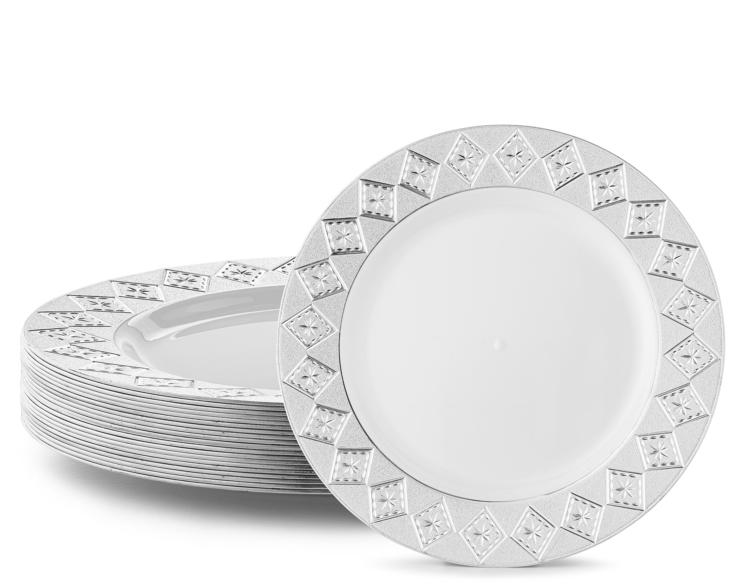 VINTAGE PLASTIC PARTY DISPOSABLE PLATES | 7.5 Inch Hard Round Wedding Appetizer Plates | White with Silver Rim, 40 Pack | Elegant Fancy Heavy Duty Party Supplies Plates for all Holidays Occasions