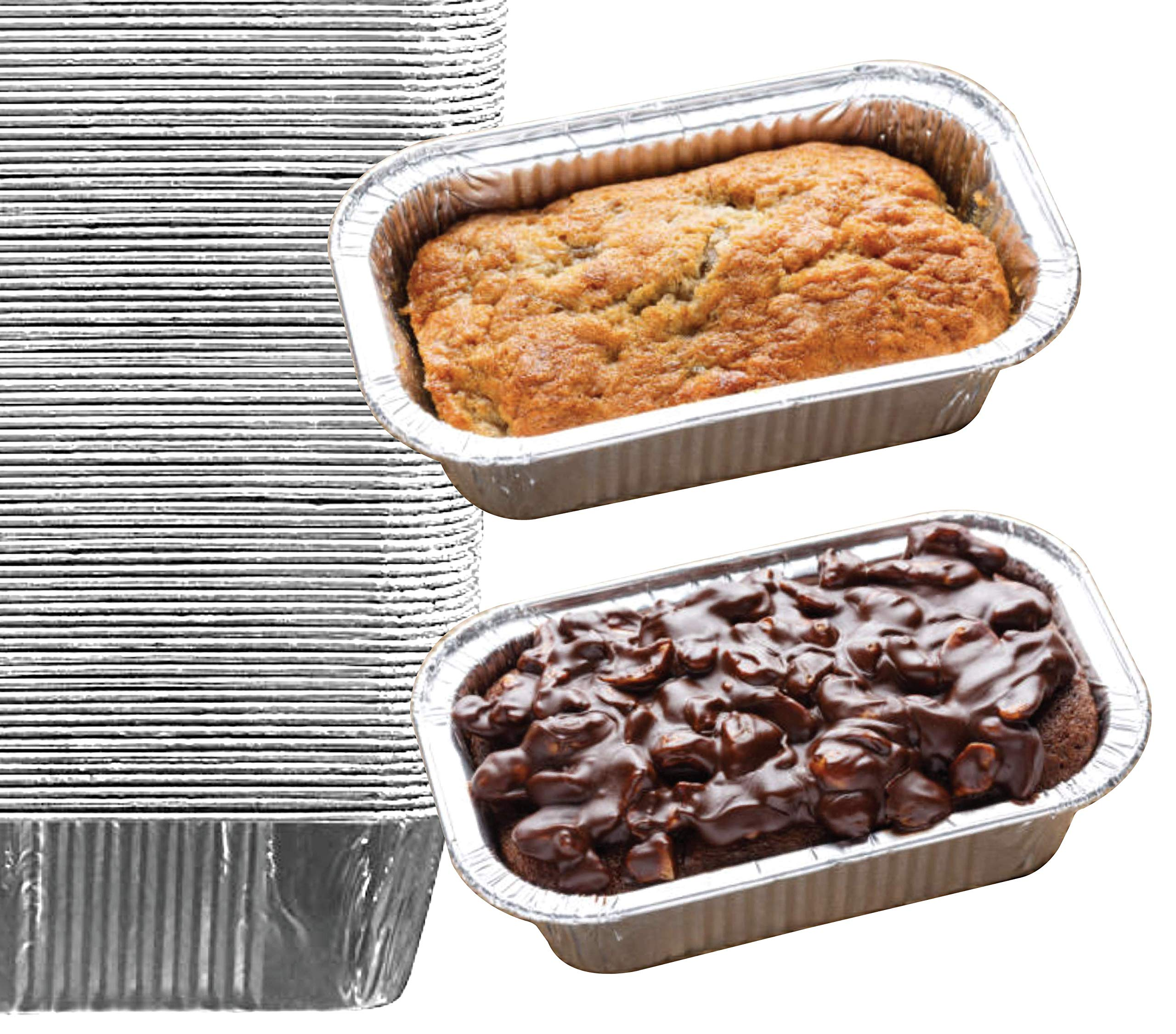 35 Pack - 1LB Sturdy Mini Loaf Pans, Aluminum Loaf Pans, Bread Pans, Foil Loaf Pan l Cake Pan, Disposable Aluminum Pans l Top bakery's choice Tin Pans - 1 Pound - 6'' X 3.5'' x 2'' by Spare Essentials