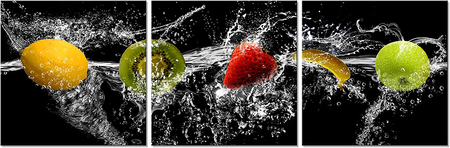 Pyradecor Dancing Fruit Large Modern Landscape Artwork 3 Piece Gallery Wrapped Giclee Canvas Prints Black Pictures Paintings on Canvas Wall Art for Living Room Kitchen Home Decorations L