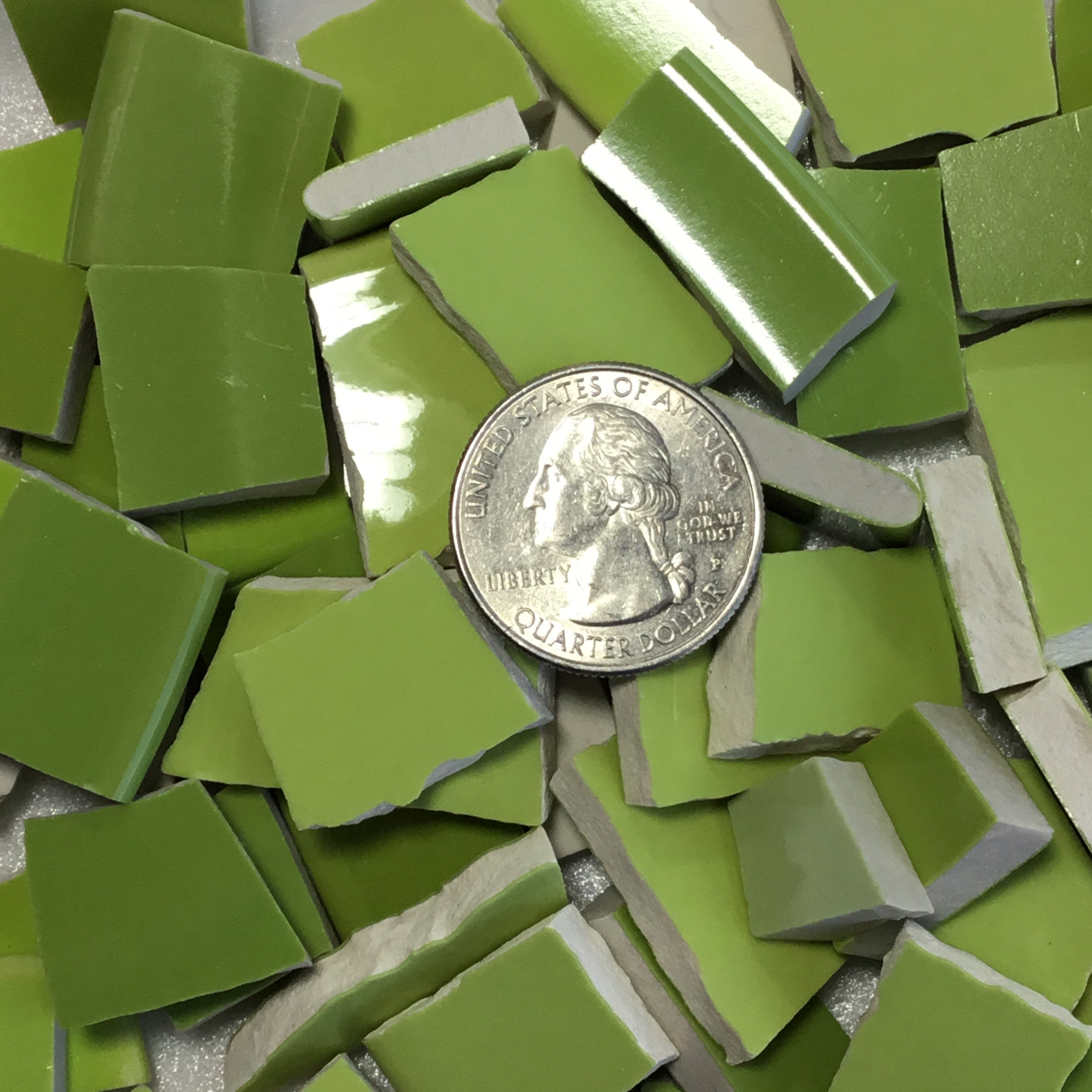 MOSAIC TILE ~ HAND CUT Dish China / Ceramic Pieces ~ Supply for Mosaics Arts & Crafts ~ 100 Shades of Chartreuse Green Tiles (T#381)