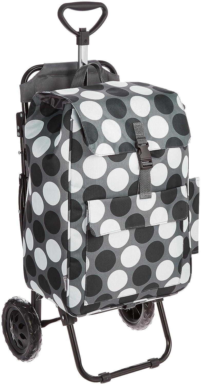[シャルミス] ショッピングカートバッグ 椅子付 保冷機能付き 15-5012 B01KV4NNMQ ブラックホワイト ブラックホワイト