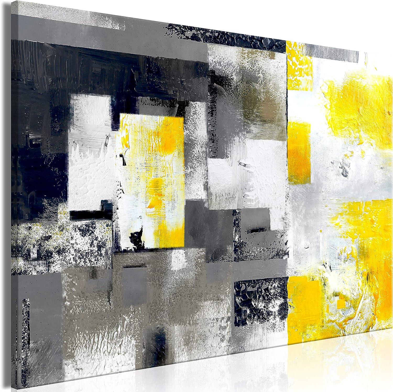 murando Cuadro en Lienzo Abstracto 120x80 cm 1 Parte Impresión en Material Tejido no Tejido Impresión Artística Imagen Gráfica Decoracion de Pared Gris Amarillo Blanco Negro a-A-0434-b-a