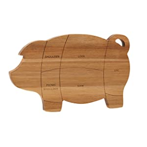 Paula Deen 46594 Pantryware Wooden Pig Cutting and Serving Board, 8.5 x 14-Inch, 8.5 Inch x 14 Inch Wood