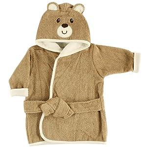 Luvable Friends Unisex Baby Cotton Animal Face Bathrobe, Bear, One Size