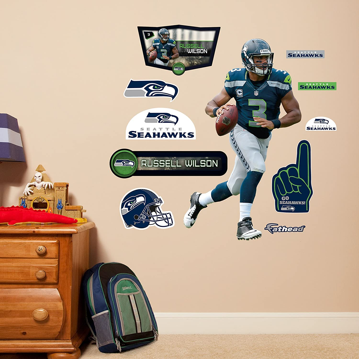 Amazon.com : NFL Seattle Seahawks Russell Wilson Fathead Wall Decal, Junior  : Sports U0026 Outdoors