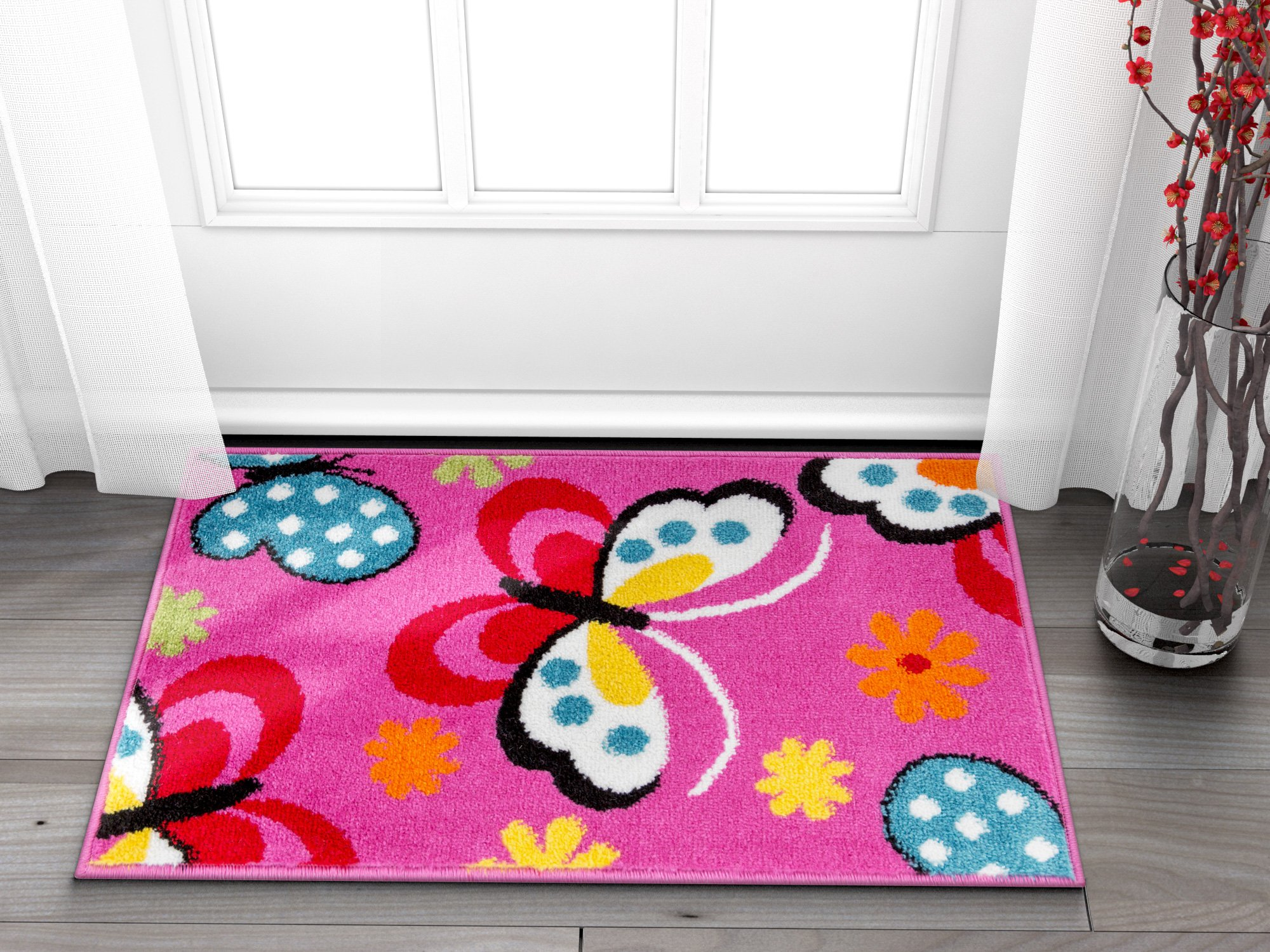 Well Woven Small Rug Mat Doormat Modern Kids Room Kitchen Rug Daisy Butterflies Pink 1'8'' x 2'7'' Accent Area Rug Entry Way Bright Carpet Bathroom Soft Durable