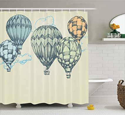 Ambesonne Vintage Decor Shower Curtain, Hot Air Balloons In Soft Tone Fly  In Sky Lighter