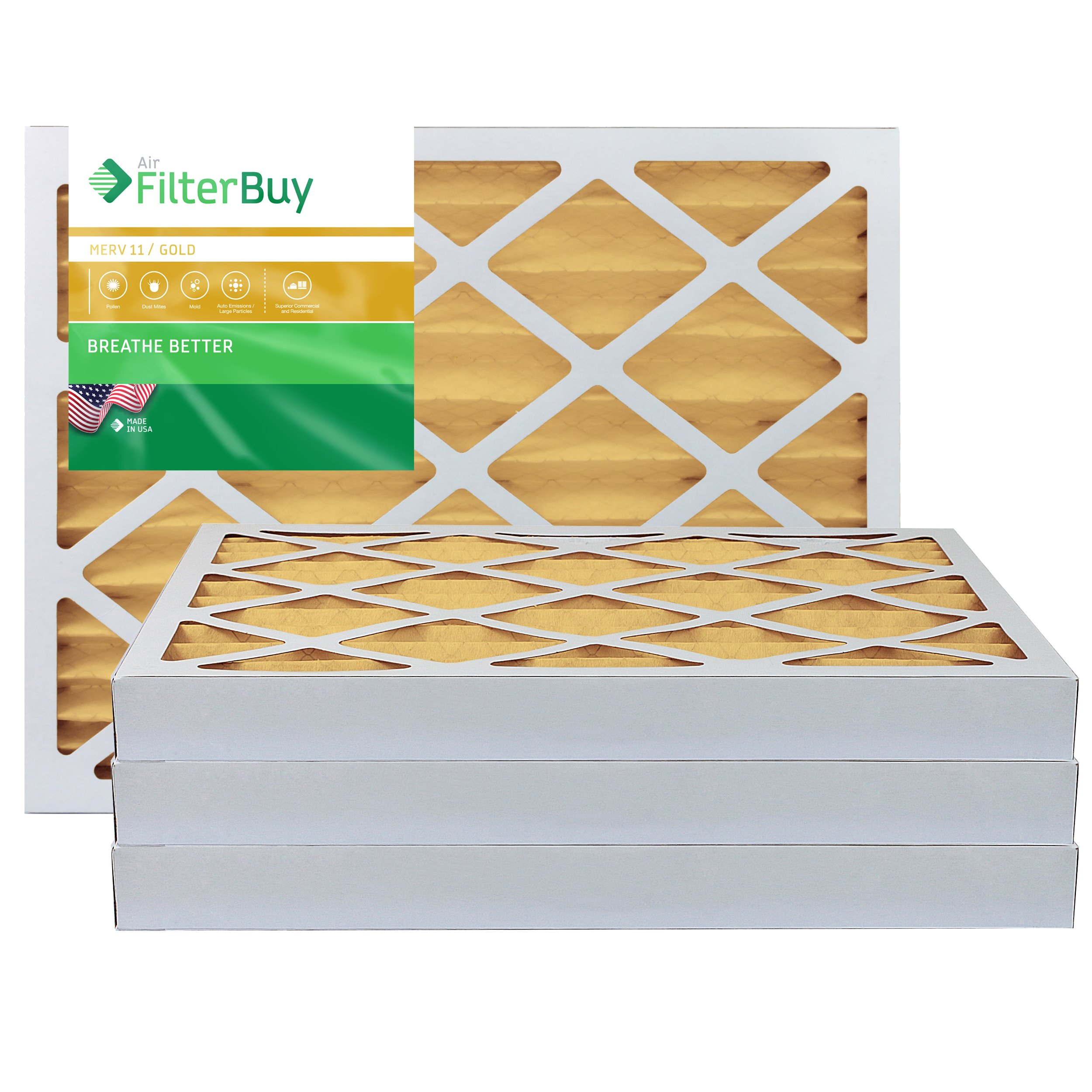 AFB Gold MERV 11 30x36x2 Pleated AC Furnace Air Filter. Pack of 4 Filters. 100% produced in the USA.