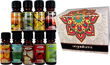 Aceites Perfumados para Aromaterapia (set 9 botellas) con Aceites Esenciales Puros + 1 Vela