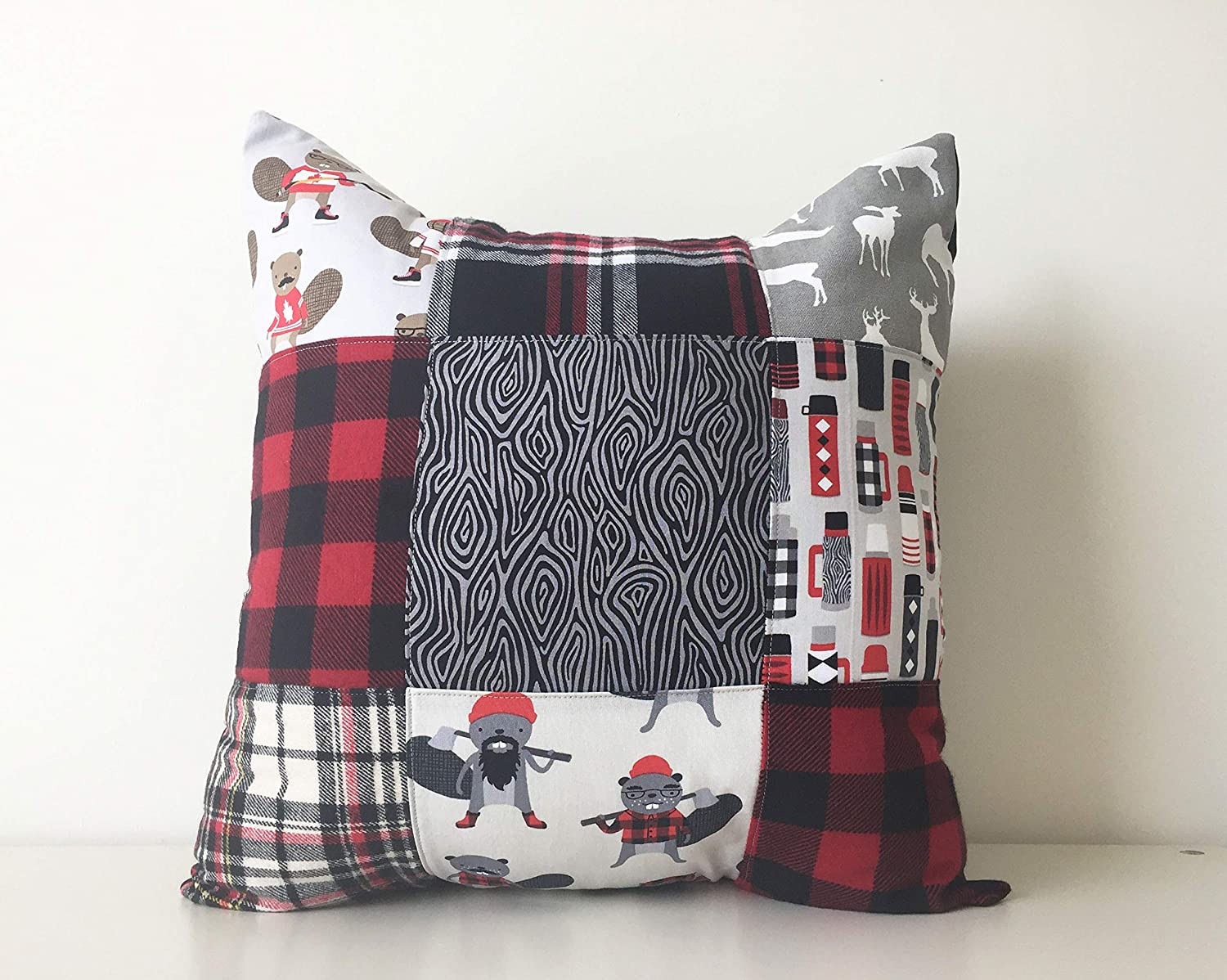 Patchwork Pillow Cover, 18x18, Canada Pillow, Buffalo Plaid Flannel Cushion Cover, Lumberjack Rustic Cottage Decor, Beavers, Deer, Man Cave 18x18