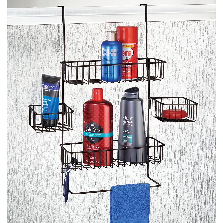Mdesign estanter as de ba o para colgar pr ctico colgador de ducha sin taladro estantes para - Ganchos para estanterias ...