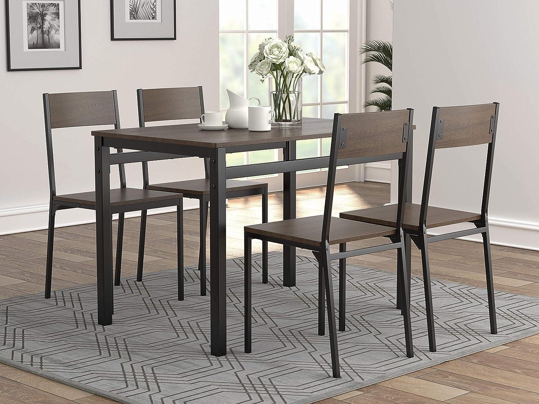 Coaster Home Furnishings 5-Piece Dark Brown and Matte Black Dining Set